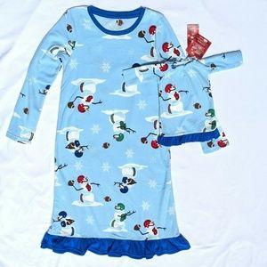 Girl Snowman Microfleece Nightgown & Doll Gown Set